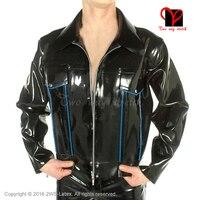 Пикантные Резиновые Пальто Длинные рукава на молнии Форма одежда верхняя одежда латекс Байкер баски туника куртка Большие размеры XXXL SY 026