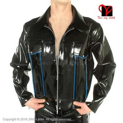Sexy Rubber coat Long sleeves zipper Fetish Bondage uniform clothing Top clothes Latex Biker Peplum tunic Jacket plus size XXXL