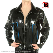 Sexy Rubber coat Long sleeves zipper uniform clothing Top clothes Latex Biker Peplum tunic Jacket plus size XXXL