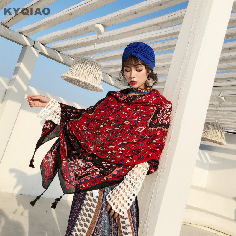 KYQIAO Women Boho Scarf Female Autumn Winter Mexico Style Vintage Design Long Red Print Neck Scarf Birthday Gifts