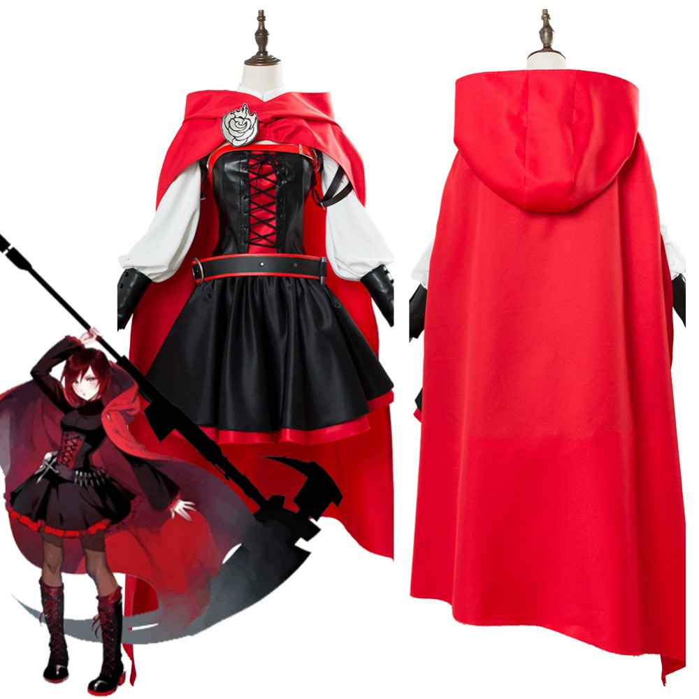RWBY 3 Season Battler Costume Ruby Rose Cosplay Costume Dress Halloween Uniform Suit Adult Women Halloween Carnival Costumes