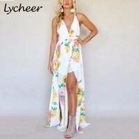 Lycheer Bohemian V Neck Strap Chiffon Women Dress Backless Print Sleeveless Beach Summer Dress High Waist