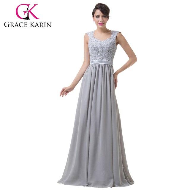 Grace Karin Elegant Grey Long Evening Dresses Lace Crochet Backless ...