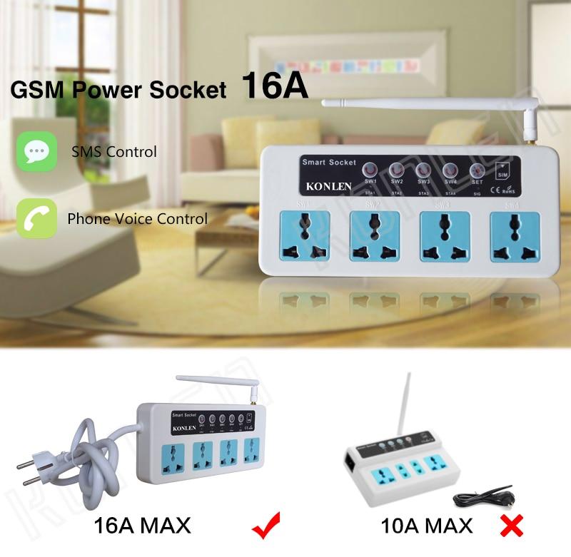 Переключатель Konlen 16А ГРМ GSM розетка для дома интеллектуальный пульт дистанционного управления разъем питания реле 4 канала с датчиком температуры