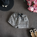 2016 fashion baby girls children's warm clothing korean style winter thick warm plaid shorts pants with bow kids clothes