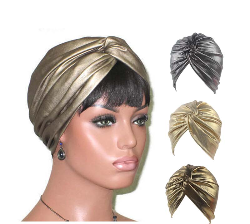New luxury Bronze twist Turban Women's Fashion Metallic head wrap cap