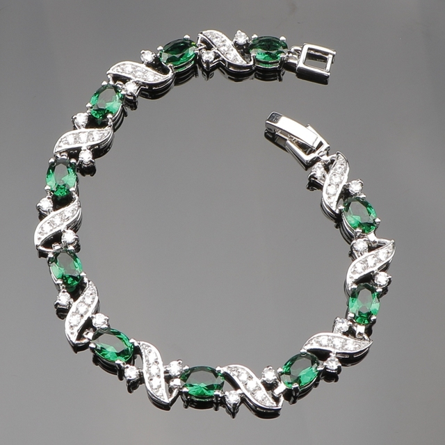 Trendy 18CM Green Cubic Zirconia 925 Sterling Silver Charms Bracelets For Women With Natural Stones Free Jewelery Gift Box