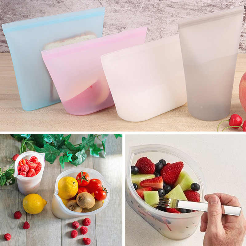 3pcs Silicone Food Fresh Bag Fruit Milk Reusable Seal Storage Organizer Leakproof Stand Up Zips Shut Bag Bowl Cup Containers