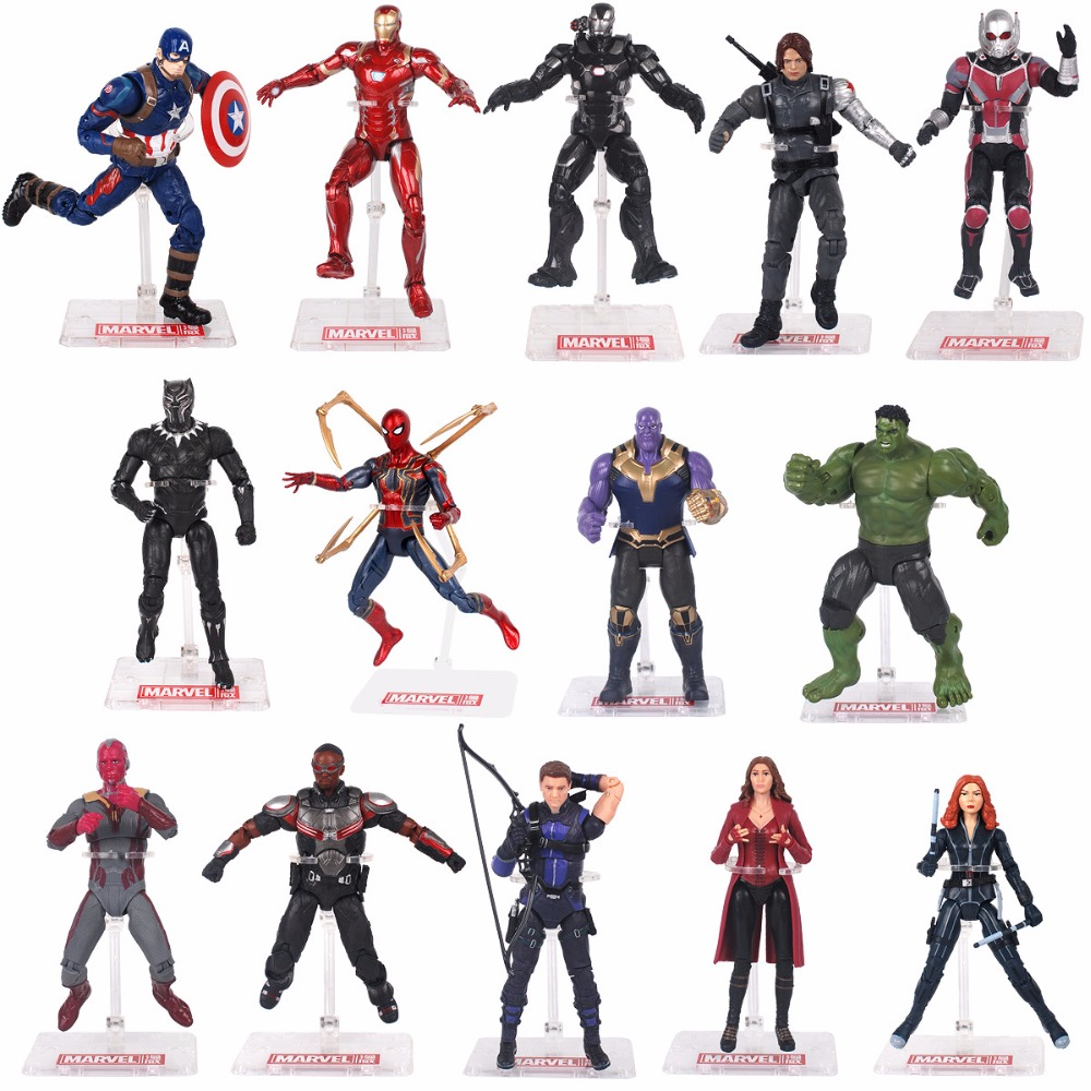 Hasbro Marvel with Holder The Avengers  America Captain Ant Man Black Panther War machine Black Widow  Iron Man Action Figures