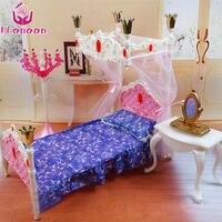 UCanaan 1 6 Doll Bedroom Furniture Accessories Plastics Princess Bed Sleeping Toy For Children Play House