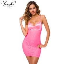 Сексуальное розовое атласное кружевное летнее платье женские
