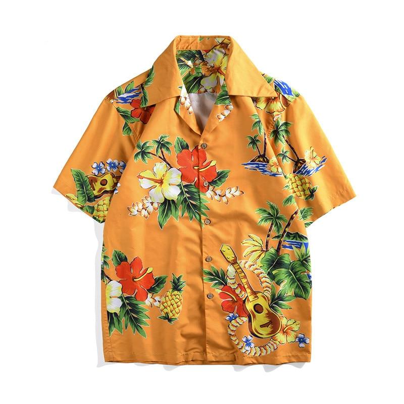 Summer holiday style floral print Mens Shirts Chic beach loose Shirt Tops A346