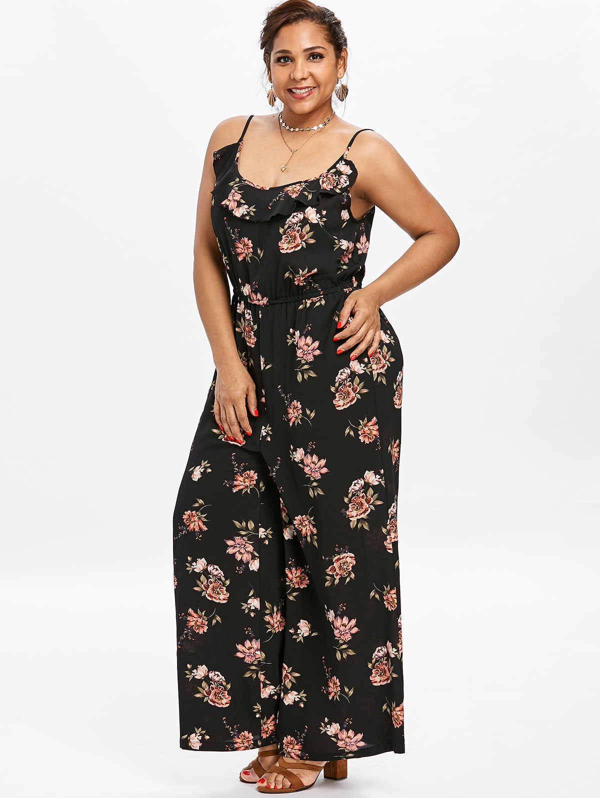 ... Gamiss Plus Size Flower Ruffles Wide Leg Jumpsuit 2018 Summer Cami  Strap Casual Straight Jumpsuits Wide ... e61968681891