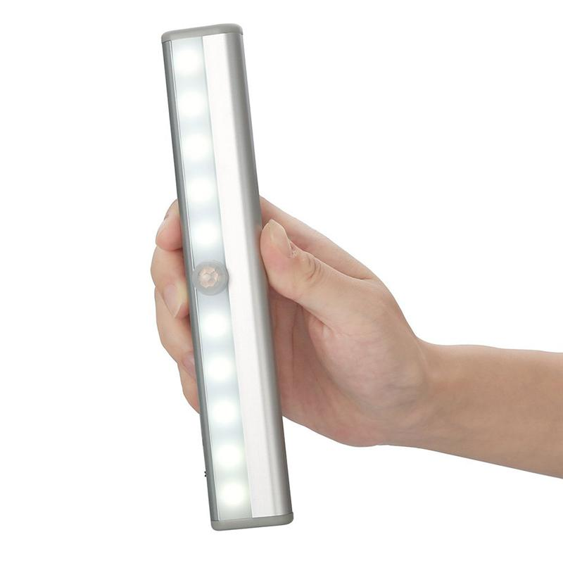 Portable Stick-on 10-LED IR Sensor Motion Sensing Battery Operated Closet Cabinet LED Night Light / Stairs Light (White)