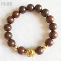 Women Bracelet Brand Handmade Jewelry Brown Wood Bead Pure Gold Color Copper Charms Female Jewellery 2018