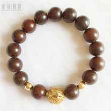 Women Bracelet Brand Handmade Jewelry Brown Wood Bead Pure Gold Color Copper Charms Female Jewellery 2018 New Year Gifts