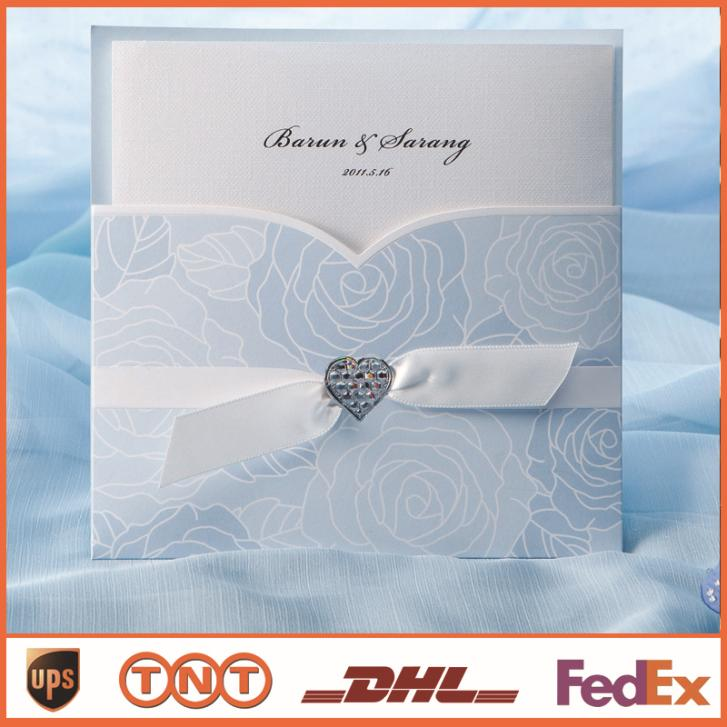 Wedding Invitation Card Light Blue With Ribbon Laser Cut