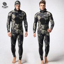 Костюм для дайвинга из неопрена 3 мм Мужчины pesca для дайвинга, подводной охоты костюм для подводного плавания и серфинга костюм для подводного плавания Разделение Комбинированные Костюмы гидрокостюм для серфинга DHL5-7