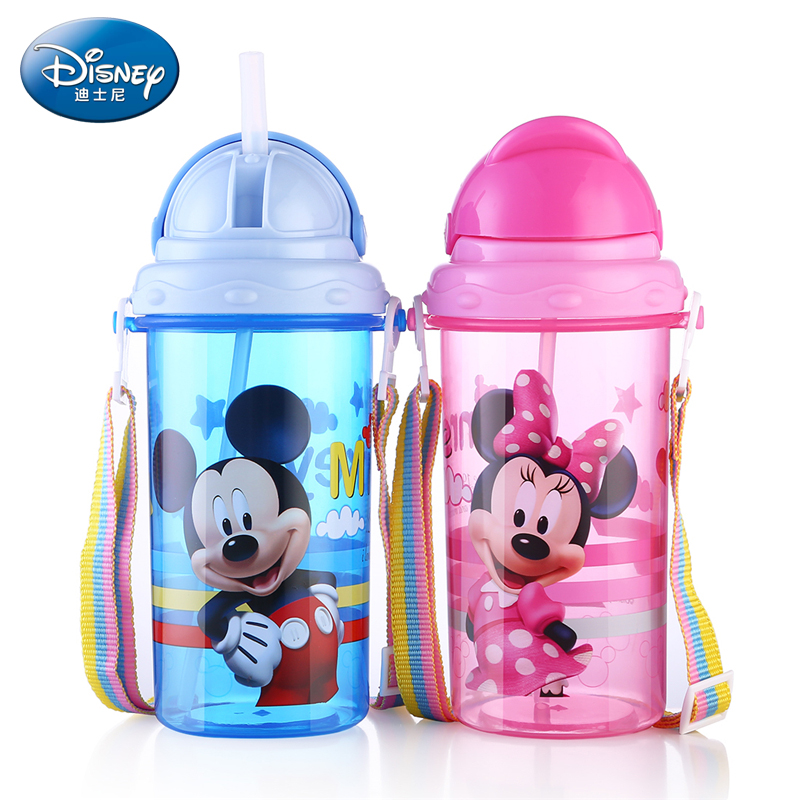 Disney 400ML Baby Feeding Plastic Straw Cup Portable PP Drinker Children's Bottle With Rope Leakproof Mickey Minnie Tumbler Cup