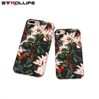 STROLLIFE Cartoon Flowers Floral Plastic Hard Phone Cases Back Cover Coque Funda For iPhone 6 Case For iphone 6S 7 7 Plus Capa