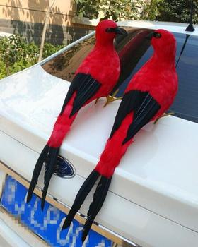 large 60cm red feathers couples magpies birds model handicraft prop,home garden decoration gift p2124