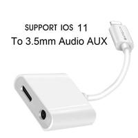 2 in 1 Verlichting Adapter Splitter naar 3.5mm Hoofdtelefoon Oortelefoon Jack Auto Aux Audio en Lading Voor iPhone 7 8 Plus X ONDERSTEUNING iOS 11