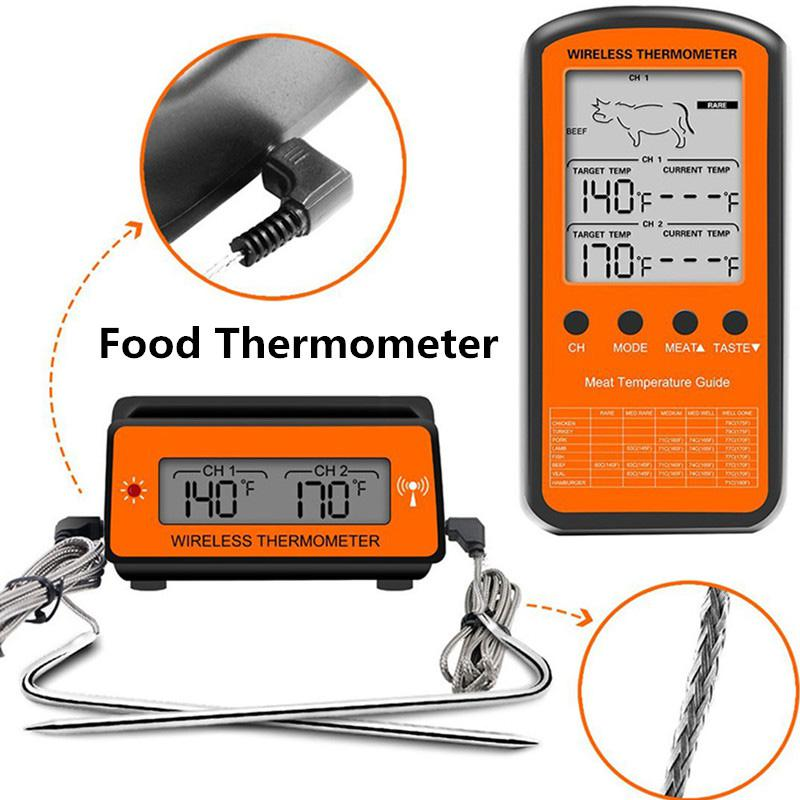 Dual Wireless Remote BBQ Meat Probe LCD Steak Thermometer for Grill Smoker Oven