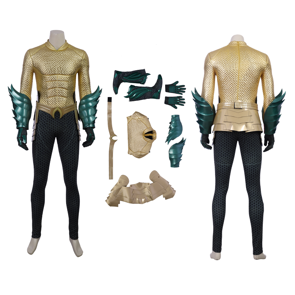 MANLUYUNXIAO Justice League Arthur Curry Aquaman Cosplay Costume Halloween  for Men Jumpsuit
