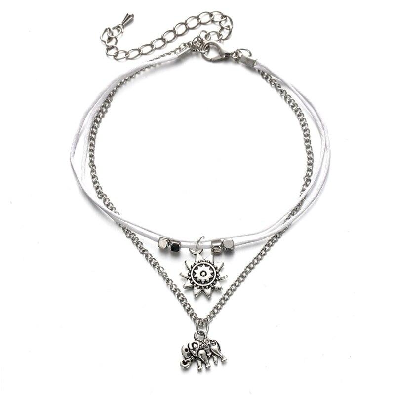Trendy Elephant Sun Three Layers Retro Anklets for women Fashion Jewelry Foot Jewelry For Women Lady Bracelet