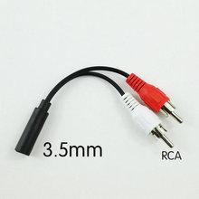 Adaptador Y de 3,5mm, Cable de Audio estéreo hembra Jack a 2 adaptador macho RCA blanco rojo