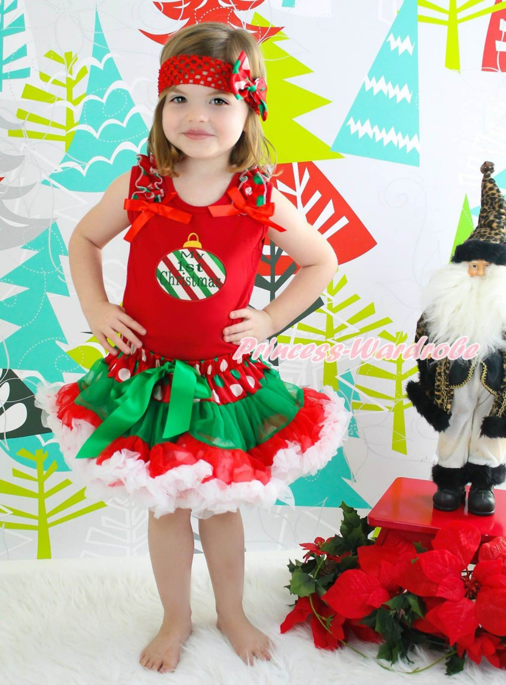 My 1ST Christmas RWG Lighting Red Top Xmas Dot Waist Girl Pettiskirt Set 1-8Year my 1st christmas santa claus white top xmas dot waist girls pettiskirt set 1 8y