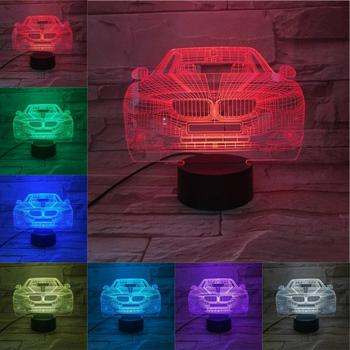 Novelty Night Light Limousine Car 3D Lamp LED Bulb Multi-color Flash Fade Holiday Gifts For Children Girl Home Decor Luminaria image