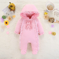 Lace Newborn Baby Girl Clothes 2018 New Winter Hooded Baby Rompers Warm Thick Cotton Outfit Jumpsuit For Children Baby Costume