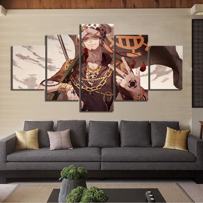 5 Panels Trafalgar Law One Piece Anime Poster Artwork Canvas Art Wall Paintings for Home Decor 2