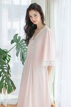 Дамы Ночной Рубашке Платье Весна Лето Пижамы Старинные Китайском Стиле Пижамы Королевский Кружева Хлопок Ночное Sexy Моды Женщины