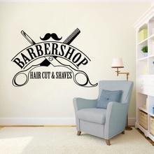 Hair Cut Shaves Logo Wall Window Decals Barbershop Sign Sticker Salon Decor Removable Haircut Vinyl Mural AY1581