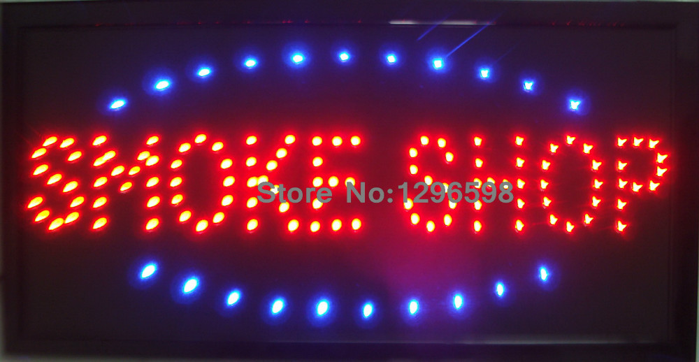 2017 Led smoke shop sign direct selling custom Graphics Semi-outdoor flashing 10X19 inch of led smoking shop open