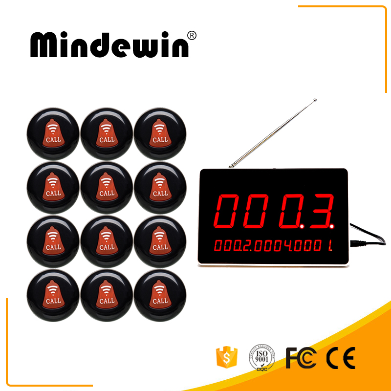 Mindewin Restaurant Pagers 1PCS M-R-1 LED Display Show 4 Groups Calling Number and 12PCS M-K-1 Call Button Service Bell стоимость