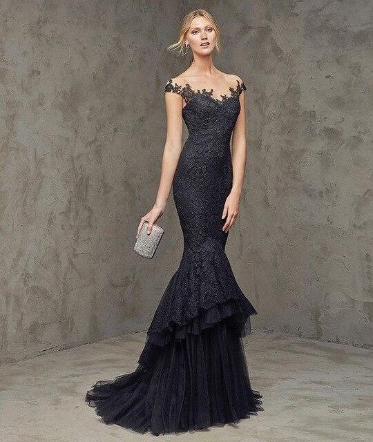 cb2b2f894 Fantástico vestido azul marino de noche de encaje en capas appliques vestido  largo prom