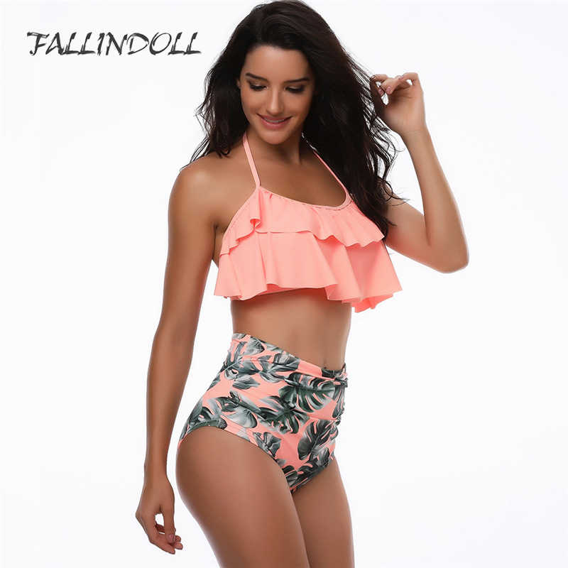 f3314d258556f FALLINDOLL High Waist Swimsuit Sexy Bikinis Women Off The Shoulder Swimwear  Ruffle Vintage Bikini Set Plus