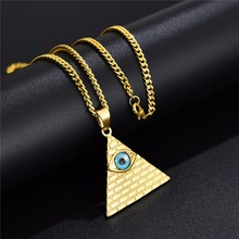 Ancient Egyptian Pyramid Eye Of Horus Pendant Necklace Hip Hop Gold Stainless Steel Illuminati Necklace with Miami Cuban Chain mens gold plated egyptian pharaohs eye of horus ra udjat stainless steel ring hip hop jewelry size 7 15