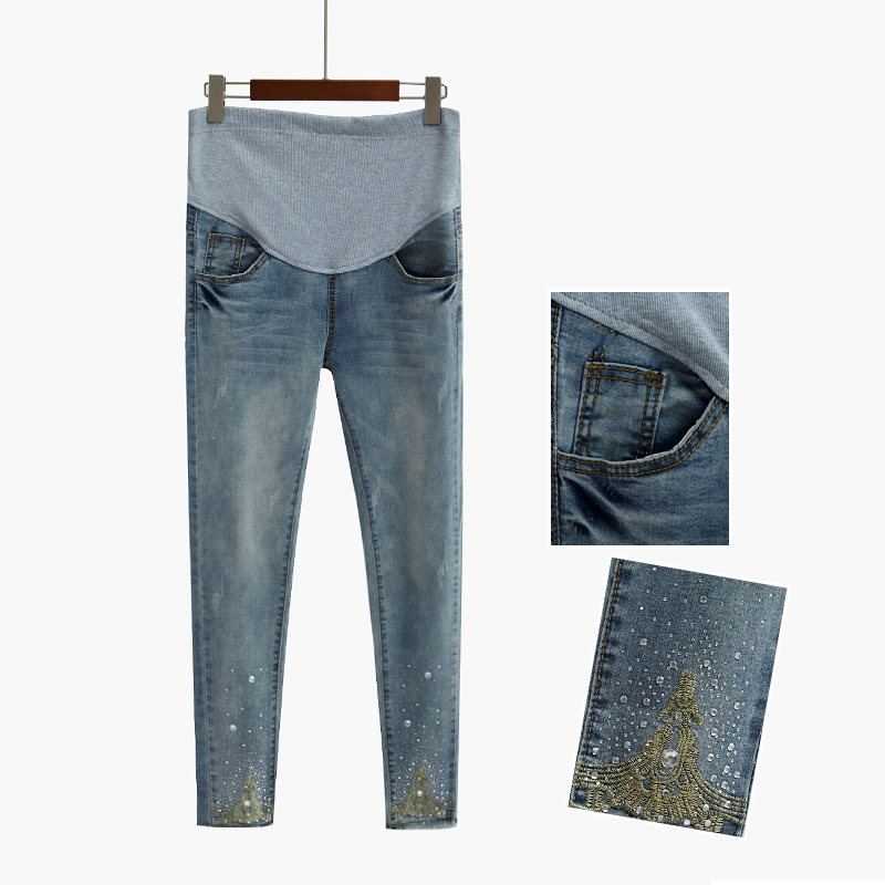 954ad8ae7 New pregnant pants pregnant women jeans fashion hot beads ropa embarazada  maternity zwanger pregnant women s clothes grossesse