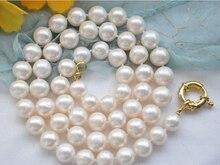 Las mujeres de La Joyería 18 inch 10-11mm Blanco Brillante destacado perla Natural de Agua Dulce verdadera perla perfectamente redonda collar de Gargantilla