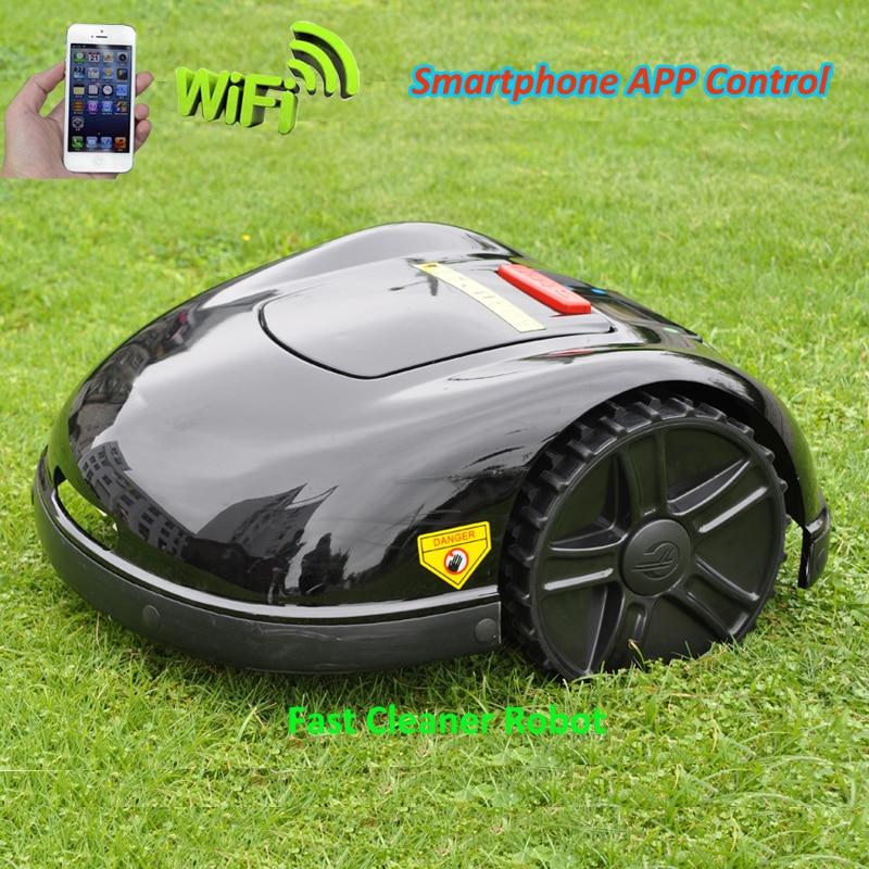 2 года гарантии смартфон приложение Contorl Intelliget газон робот газонокосилка с 13.2AH литий ионный аккумулятор + 100 м провод + 100 шт. колышки