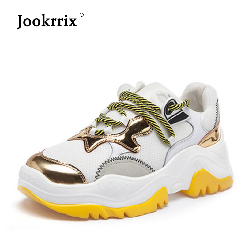 Jookrrix 2018 Casual White Shoes Women Fashion Brand Platform Sneakers Lady Real Leather footware Female chaussure Breathable