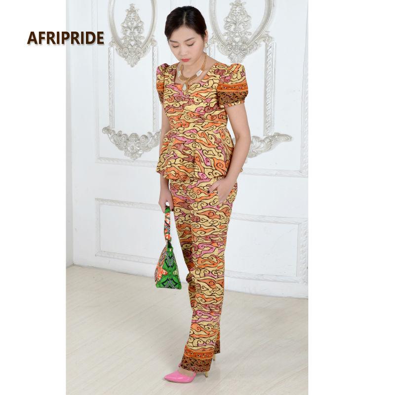 Kadınlar için afrika elbiseler moda iki parçalı takım set - Ulusal Kıyafetler - Fotoğraf 3