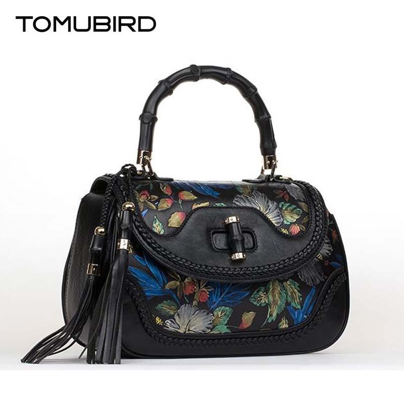 National wind luxury women handbag designer stained printing genuine leather bag fashion women leather handbags shoulder bag