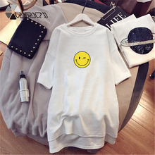 2019 Summer Women Dress Cute Smiley Face Nice Day Short Sleeve Dresses Casual Loose Mini White Big Size M-4XL New Vestidos