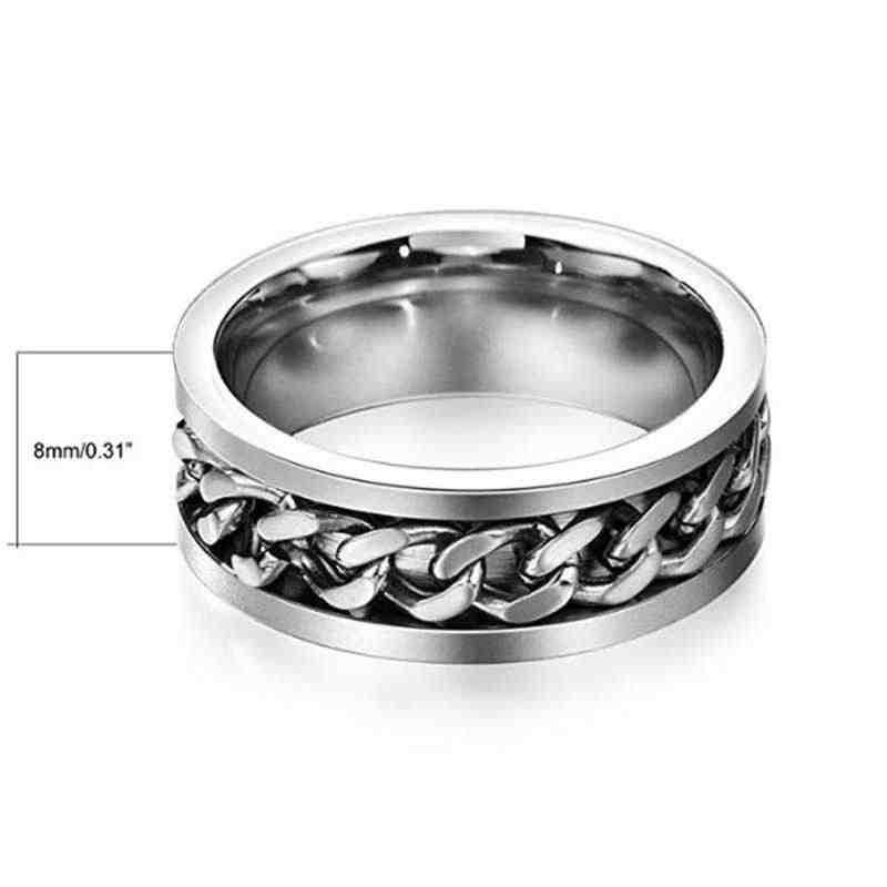 8mm Silver Swivel Link, Stainless Steel Men's Swivel Link Ring, Women's Fine-Tuning Rings, Men's Jewellery