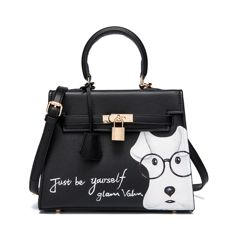2017Just be Yourself Pu Leather Women's 25 28cm Gold Lock Graffiti Hand Painting Cute Dog Handbags Shoulder Crossbody Bolsas bag in dog years i d be dead garfield at 25